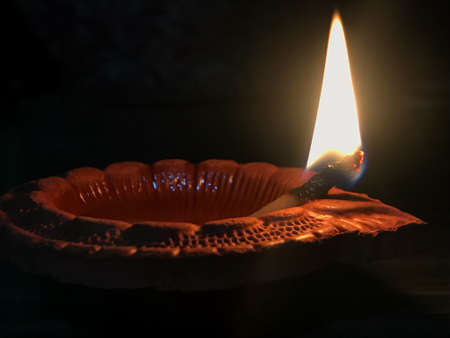 Clay Diya or Oil Lamp Stock Photo