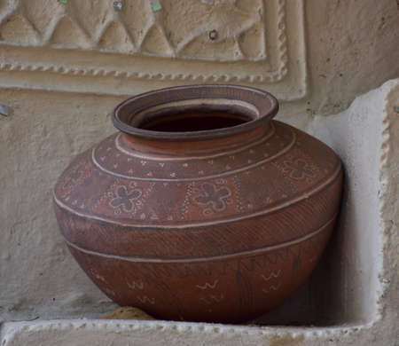 Earthen Pot or Clay Pot or Matka or Matki used in Indian Subcontinent as a water cooler Foto de archivo