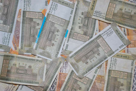 Group of New 500 Rs note background