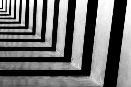 Abstract shot of endless alternate black and white repetitive patterns Imagens