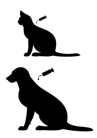 犬と猫のワクチン接種  イラスト・ベクター素材