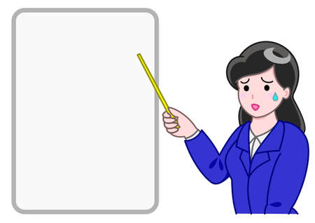 bitter: office girl pointing a board with a bitter smile Illustration