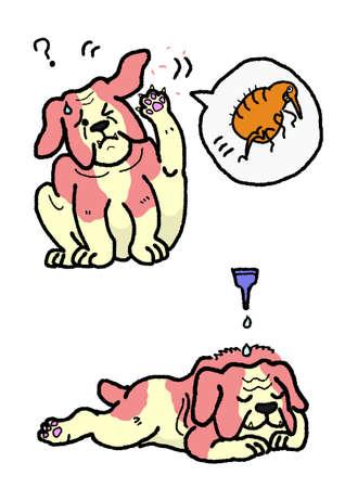 flea: exterminio de pulgas de perro Vectores
