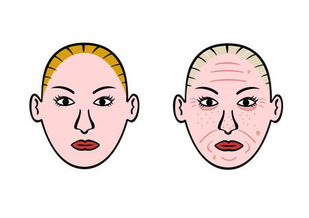 aging: aging face Illustration