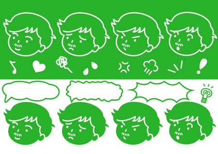 impatient: logos visage masculin Illustration