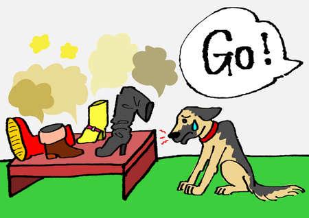 police dog: stinking boots Illustration