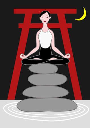 shrine: yoga woman sitting on zen stones in night Japanese shrine Illustration