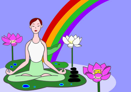 meditation stones: yoga woman sitting on lotus leaf in a pond