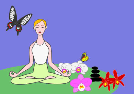 meditation stones: yoga woman meditating with butterflies and orchids  Illustration