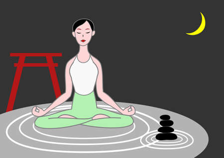 unification: yoga woman meditating on raked sand with zen stones  Illustration