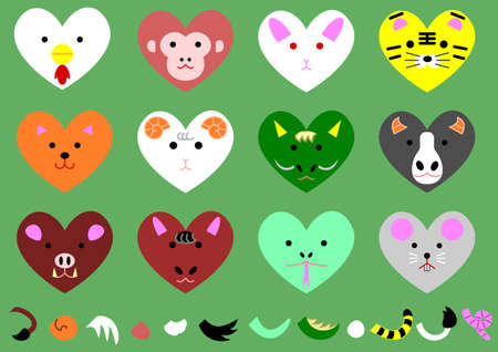 twelve heart-shaped animals of the zodiacal signs  Vector