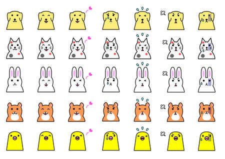 set of variation of animal s expressions Vectores