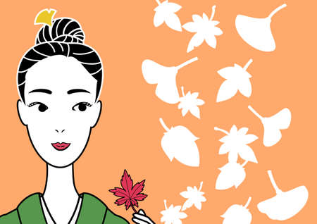 kimono beauty picking a red leaf Stock Vector - 26041615