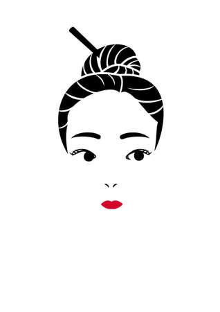 アップの髪スタイルの女の子  イラスト・ベクター素材