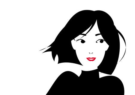 smiling short haired woman Vector