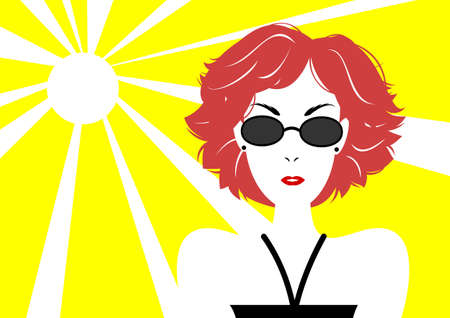 short haired: short haired woman with sunglasses Illustration