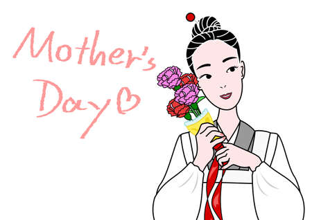 claveles: Madre japonesa con claveles