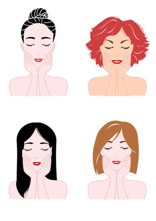 feeling good: four faces of woman,skin care Illustration