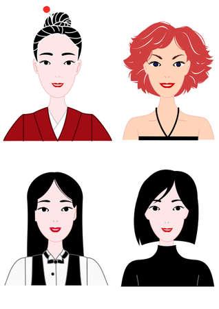 halter neck: geklede vrouwen, bovenlichaam, ingesteld Stock Illustratie