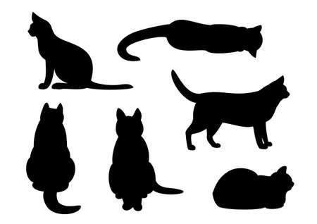 silhouette chat: Silhouette de chat ensemble Illustration