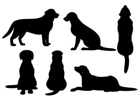 hond silhouet set Stock Illustratie