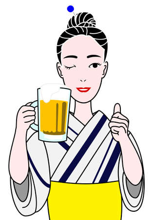draft beer: beautiful woman in yukata with a beer mug