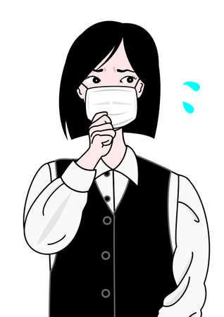 glower: coughing office girl