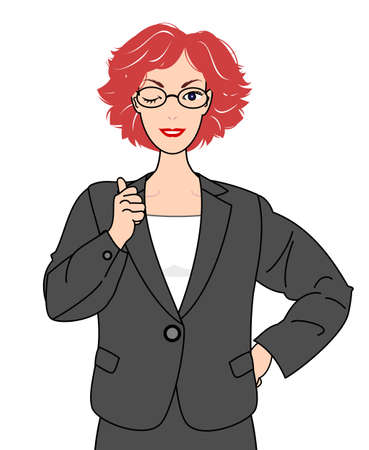 girl in suits thumbing up Vector