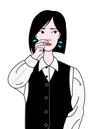 office girl suffering from hay fever Illustration