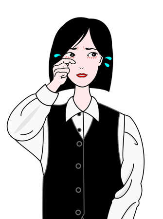 glower: office girl suffering from hay fever Illustration