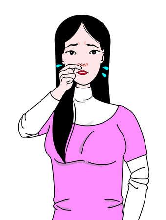 鼻のかゆみに苦しんでいる女の子