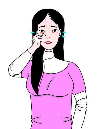 目のかゆみに苦しんでいる女の子  イラスト・ベクター素材