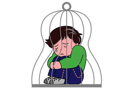 A boy in a cage Vector