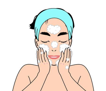 wash face: man washing face