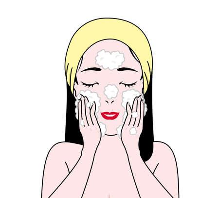 wash face: girl washing face