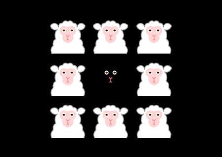黒い羊と白い羊  イラスト・ベクター素材