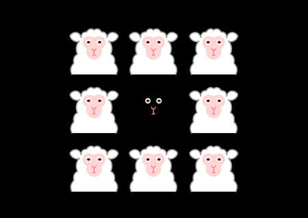 conspicuous: black sheep and white sheep