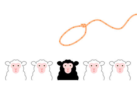 Conceptual of trying to catch a black sheep among the white sheeps  Vector