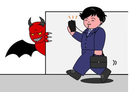 concentrating: mobile devil Illustration