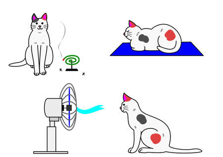 insect repellent: cat in summer Illustration