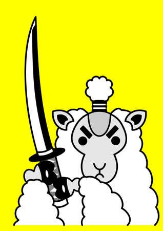 サムライ羊  イラスト・ベクター素材