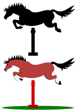 over white: jumping horse Illustration