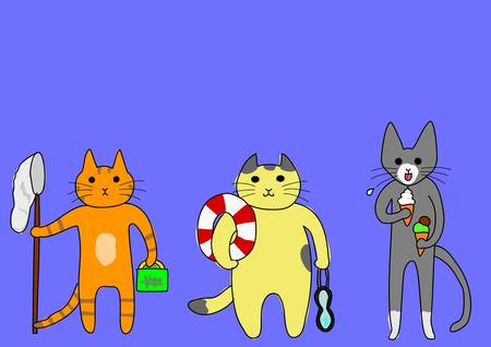 bipedal:   Group of cat ready for summer