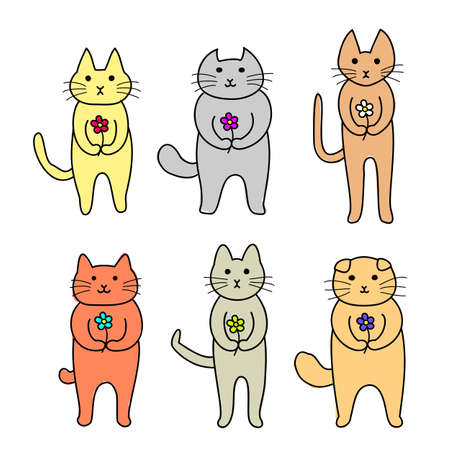 cats standing with a flower in hand