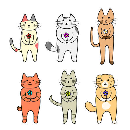 calico: cats standing with a flower in hand