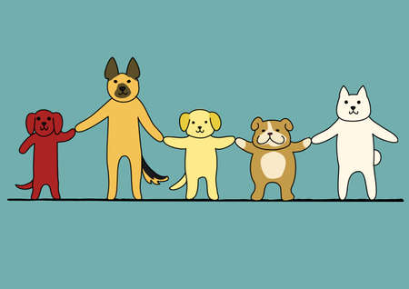 bipedal: five dogs hand in hand Illustration