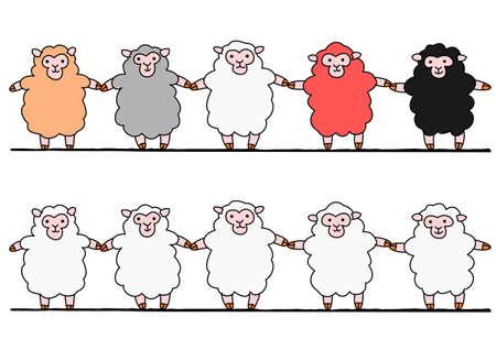 five sheep hand in hand, set Vector