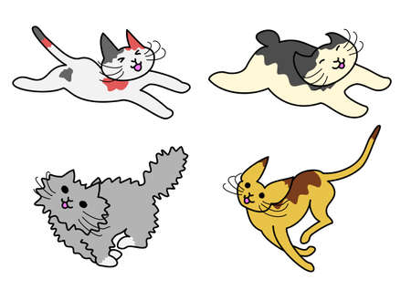 black haired: runnung cats