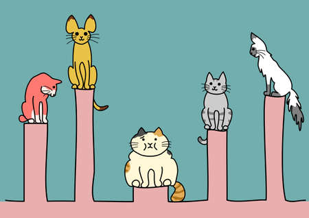unhealthiness: obesity cat among with other cats Illustration
