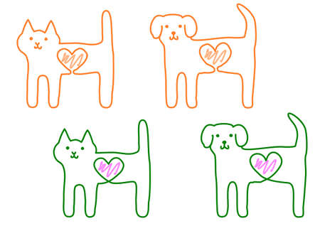 cat and dog with heart
